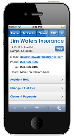 m.jimwatersinsurance.com website preview